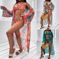 Women's Swimwear Women Printed Split Swimsuit Set, Deep V-neck Backless Bikini + Panties Perspective Mesh Cardigan
