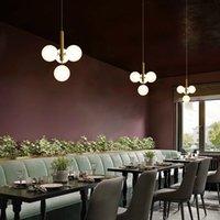 E27 현대 노르딕 간단한 샹들리에 램프 크리 에이 티브 유리 공 디자이너 Led 매달려 빛 침실 레스토랑 실내 홈