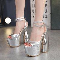 Dress Shoes PRETO BRANCO 2021 Summer High Heels Thick Heel Women Sandals Open Toe Platform Silver Buckle Banquet