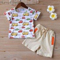 Summer Baby Boys Clothes Set Cartoon T-shirt + Pocket Pant 2 Pcs Casual Kids Childrens Clothing 210507
