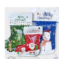 Halloween Regalo di Natale Regalo di imballaggio Borse Grip Zip Lock Sock Forma Deposito regalo Xmas Santa Elk Snowman Stampa Decorazioni per feste Pendente Appeso Pendente Candy Bag G09CW17