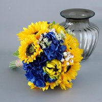 Wedding Flowers Yellow Blue Hydrangea Hand Tied Flower Decor Home Holiday Party Artificial Sunflower Bride Bouquet