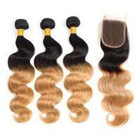 Raíz Oscura 1b / 30 Onda de cabello humano Onda de onda 3 paquetes con cierre de encaje Virgen brasileño Remy Hair Tejidos 2 tonos Ombre Pelo