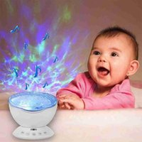 Night Lights Ocean Wave Projector Led Light Aid Sleeping Romantic Soothing Water USB Lamp Music Player For Kid