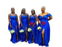 2022 Royal Blue Plus Size Wedding Guest Dresses Spaghetti Straps High Split Open Back Bridesmaid Dress Off Shoulder