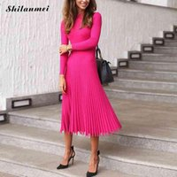 Casual Dresses Winter Sexy Pleated Sweater Dress 2021 Autumn Elegant Party Midi Women Office Lady Pink Slim Knitted Vestidos XL