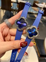 Orologi di marca di modo Donne Girl Girl Flowers Style di cristallo in pelle cinturino da polso da polso VA01