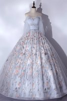 luxury vintage ruffled light grey embroidery printing fairy dream veil Medieval dress Renaissance gown princess Victorian venice Marie Antoinett Belle Ball