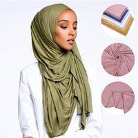 Scarves Selling Plain Cotton Jersey Hijab Scarf Women Muslim Elastic Shawl Long Headband Turban 170*60cm 10pcs Lot Wholesale