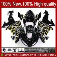 Carrozzeria per Kawasaki Ninja ZX1000CC ZX 10R 10 R 1000 cc 2006 2007 Body 14No.111 Giallo BLK 1000CC ZX1000C 2006-2007 ZX-10R ZX1000 ZX10R 06 07 Kit carenatura moto