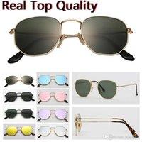 Top Calidad 51mm Metal 3548 Metal Plat UV400 Hexagon Piso Gafas de sol Mujeres Hombres Vintage Retro Marca Diseño Gafas de Sol Oculos De Sol Gafas