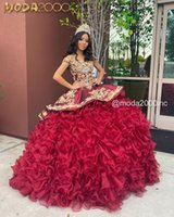 Burgundy Ruffles Puffy Skirt Quinceanera Dresses Luxury Gold Lace Beaded Lace-up Corset Evening Gown Vestidos de 15 años
