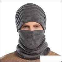Protective Gear Cycling Sports Outdoorscycling Caps & Masks 3Pcs Set Men Knitted Hat Beanies Scarf Face Balaclava Set Winter Plush Warm Hats
