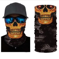 Scarves 3D Seamless Camo Skull Magic Tactical Neck Gaiter Face Head Cover Sport Camping Cycling Fishing Bandana Headband Scarf Men Women
