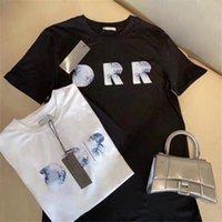 Ins 2021 الصيف t-shirt فرنسا 3d خطابات التطريز تي شيرت رجالي إمرأة زوجين جودة عالية الأزياء باريس شارع تي الرجال s الملابس عارضة قصيرة الأكمام الطائر