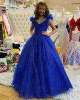 BlingBling Royal Blue Tulle Toddler Infant Girl's Pageant Dresses 2022 Handmade Rhinestone Neckline Lace Up Back Wedding Party Flower Girls' Special Occasion Wear