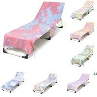 Tie-Dye-Strand-Stuhlabdeckung mit Seitentasche 75 * 215 cm Schnelltrockner Lounge Handtuchabdeckungen Sonnenliegen Sonnenbaden Wasser HWB7408
