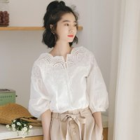 Lamtrip Camisa das Mulheres Camisa Vintage Laço Branco Vintage Oco para fora Mulheres Sólidas Slash Pescoço Slow Sleeve Solto Slim Feminino Top