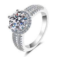 Anéis de cluster Anziw 925 Sterling Silver Moissanite Diamond 2.0ct Anel de noivado de luxo para mulheres presentes de jóias