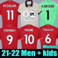 21 22 Liverpool camisa de futebol 2021 2022 LVP M. SALAH M.SALAH VIRGIL MANE FIRMINO THIAGO PHILLIPS DIOGO JOTA J. ORIGI uniformes campeões goleiro homens + kit de crianças