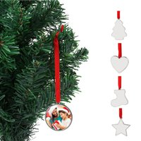 Christmas Sublimation Blank Pendant Heat Transfer Hanging Ornament Xmas sock heart round Tree Decoration products