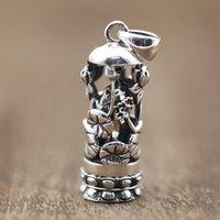 Pendente in argento sterling 100% 925 Kwan-Yin Guan Yin Bodhisattva Donne da uomo Amuleto Amuleto Fortunati Gioielli Regali Regali Collani Collane Collane