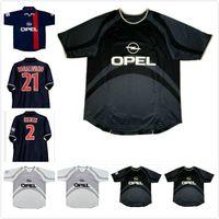 2001 2002 Paris Ronaldinho Retro Soccer Jersey 01 02 Anelka Okocha Heinze Pochettino Arteta Aloisio Camisa de fútbol clásico de la vendimia