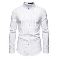 الرجال عارضة القمصان parklees 2021 الخريف هينلي للرجال العريس الزفاف رسمي يتأهل طويل الأكمام قميص الطيات سهرة خمر الملابس