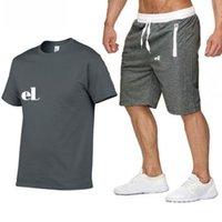2021 Shirt d'été + Shorts Hommes Shaksuit Hommes Collier Col de Col O-Cou Pull à manches courtes avec pantalon de jogger décontracté Convient aux sports Homme Homme