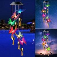 Objetos decorativos Figuras Color Cambio de color LED Viento solar Chime Night Light Impermeable Windchime Lámpara Colgante Colgante Linterna Gar