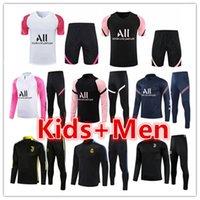 PSG Messi Paris Mens + Kids Football Tracksuits Treinamento Terno Jerseys Jacket Conjuntos 2021 2022 Homens de manga curta Futebol Tracksuit conjunto de jogging kits Chandal Survection