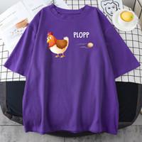 Women's T-Shirt Cute Cartoon Chicken And Eggs Print Womens Tshirts Creativity Casual Clothes Simple Crewneck Tshirt Hip Hop S-Xxxl T Shirt W