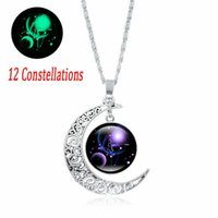 12 Constellations Time Jewel Necklace partys Night Lights Moon Milky Way Shiner Luminous Glass Pendant Valentines Day Birthday Cristmas Gift LD61214