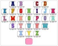 Havlu Nakış Karikatür Renkli Mektuplar Şönil Yama Kumaş Özel Gökkuşağı Renkler Içinde Dikmek Letter Sticker Patchwork Sizi Seviyorum BWD7269
