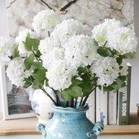 Fleurs décoratives Hydrangea Hydrangea artificielle Fleur Blanc Snowball Flores Accueil Partie de mariage Décor de Noël Décorations d'automne de Noël DHE5863