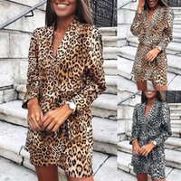 Dresses Leopard Jurk Women Spring 2021 Fashion Luipaard Print Long Mouw V-neck Sexy Party Beach Loose Vestidos The Fiesta #40
