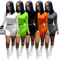 Mulheres Roupas Dois Peças Definir Designer Manga Longa T Shirt Bodyuit Tracksuit Sportsuit Shorts Calças Sport Sport Color Sólida C0676