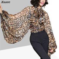 Frauen Blusen Hemden Xnxee Leopard Hemd Weibliche Chiffon Lace Up Bow Laterne Ärmel Übergröße Bluse Top Für Frauen Sommer Mode Sexy Clo