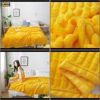 Couvertures textiles goutte de jardin livraison 2021 lrea jaune molleton hindicing couverture lits de couverture de tissu polaire pour canapé hiver maison décoration