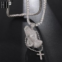Pendant Necklaces Hip Hop Bling Cubic Zirconia Iced Out Praying Hands Cross & Pendants For Men Jewelry With Tennis Chain