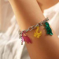 Charm Bracelets Cute Cartoon Acrylic Dinosaurs Chain Candy Colors Resin Animal Bracelet Birthday Gift Girls Woman Handmade Jewelry