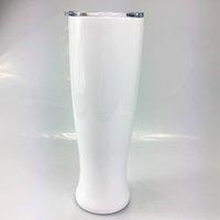 DIY sublimação de calor 30oz pilsner em forma de caneca dupla camada vaso copo de aço inoxidável copos de cerveja bebendo café caneca 57g3