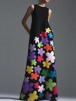 Stil Bohemian Çiçek Baskı Uzun Pamuk Elbise O-Boyun Kolsuz Büyük Hem Kadınlar Sonbahar Yaz Zarif Rahat Ürün Elbiseleri