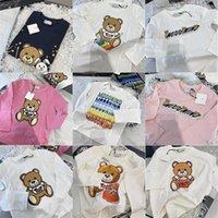 어린이 키즈 아기 만화 티셔츠 가을 의류 상위 그래픽 셔츠 면화 귀여운 곰 부티크 복장 십대 소녀 소년 긴 소매 티셔츠