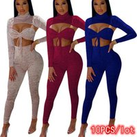 Women's Two Piece Pants 10PCS Bulk Item In Wholesale Lots 3 Set Women Bodycon Tracksuit Hollow Out Lounge Wear Jogger Sexy Club Outfits Fema