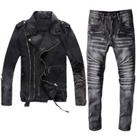 Inverno Mens Negro Denim Dois Peça Definir Novo Outono Moda Saída Denim Jaquetas e Biker Jeans Vintage 2 Pcs Define Ternos de Roupa de Marca