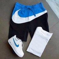 Yeni Yaz Spor T-shirt Şort 2021 erkek Moda Renk Eşleştirme Pantolon Rahat Suitfxm3