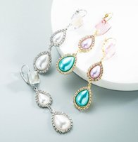 Charm Water drop Shape Pearl Earring for Women Baroque Lightweight square Rhinestone Beaded Luxury Pendant Glass Drill Earrings Brides Jewelry