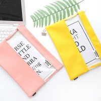 Business Card Files 1pcs 3257 Solid Color PU Paper Bag Transparent Waterproof Kit Small Clean A4 Document Folder