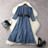 Платья Европейская и американская Женская Одежда Весна 2021 Девять четверти Рукава Симпатичные Кнопки Модное Платье Джинсовые Рейнцилцил